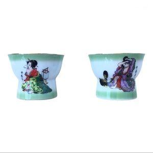Magic vintage peekaboo geisha boudoir sake cups